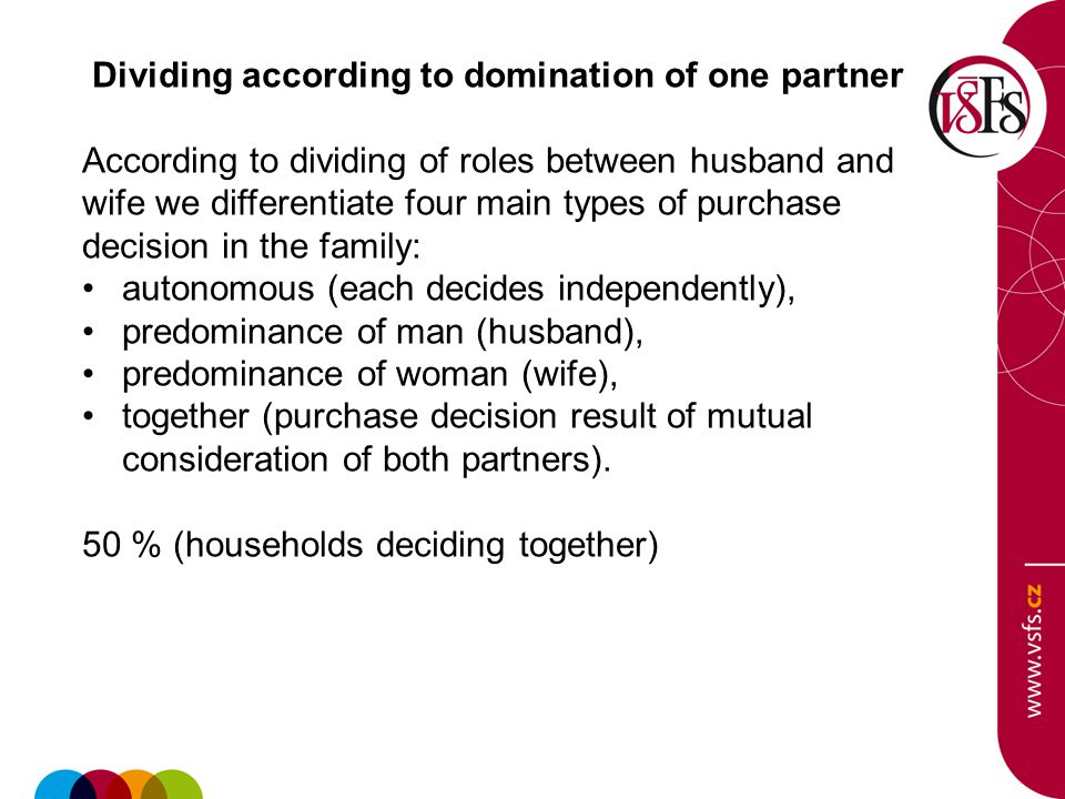 Dividing according to domination of one partner According to dividing of roles between husband and wife we differentiate four main types of purchase decision in the family: autonomous (each decides independently), predominance of man (husband), predominance of woman (wife), together (purchase decision result of mutual consideration of both partners).