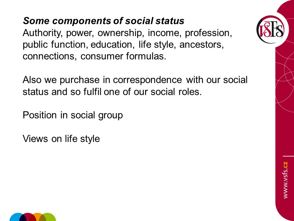 Some components of social status Authority, power, ownership, income, profession, public function, education, life style, ancestors, connections, consumer formulas.