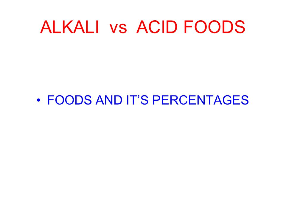 ALKALI vs ACID FOODS FOODS AND IT'S PERCENTAGES