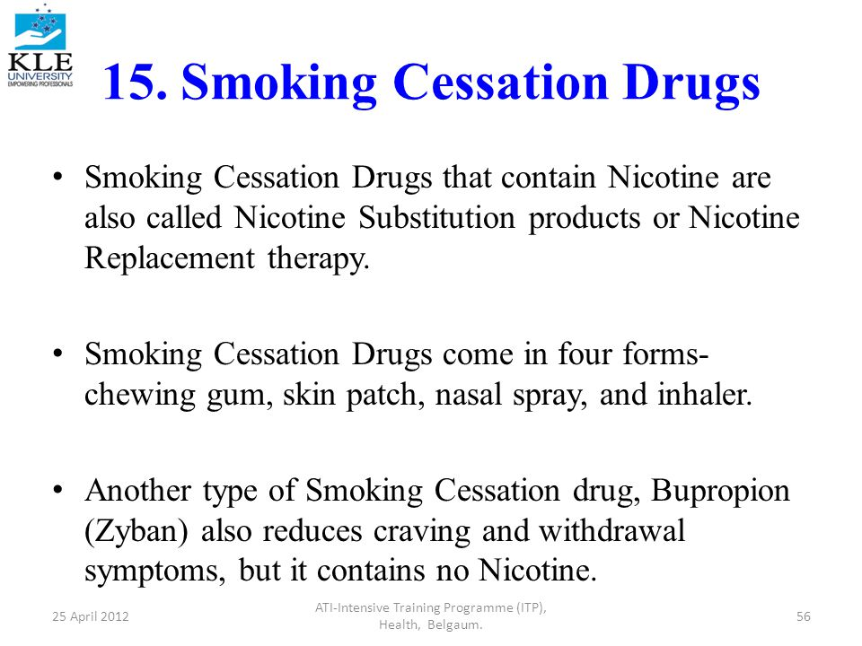 15. Smoking Cessation Drugs Smoking Cessation Drugs that contain Nicotine are also called Nicotine Substitution products or Nicotine Replacement thera