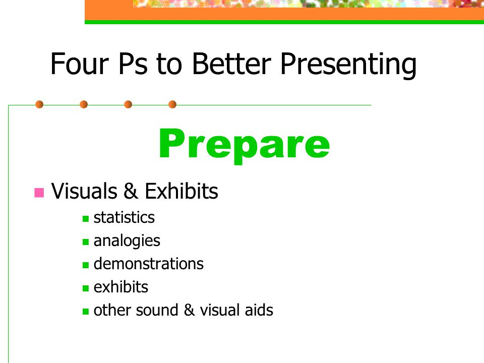 Four Ps to Better Presenting Review Presentation l Successful? l Strengths? l Areas to improve?