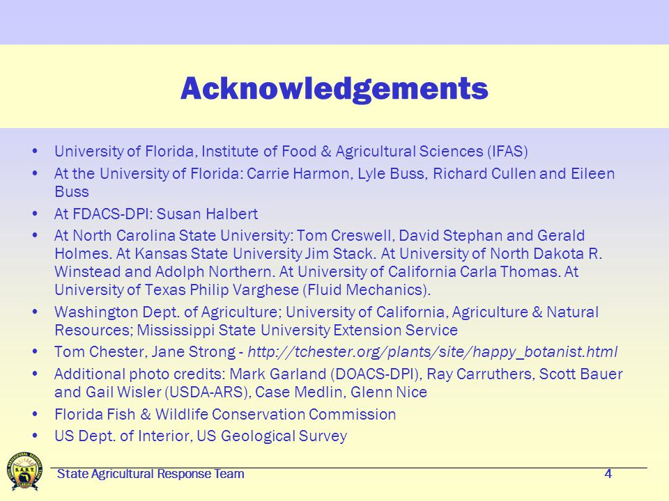 State Agricultural Response Team44 Florida Extension Plant Diagnostic Clinic University of Florida, IFAS/NFREC 155 Research Rd.