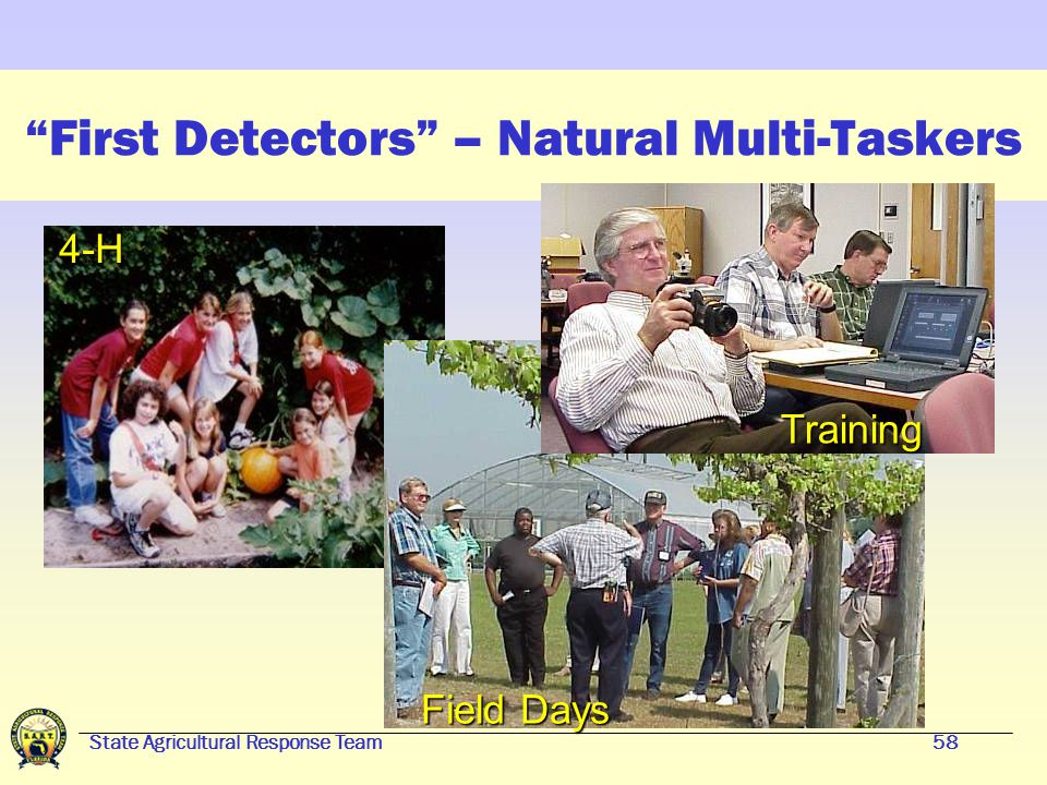 "State Agricultural Response Team57 What does a ""First Detector"" do? Training, certificate of completion and national registry Surveillance –Be alert t"