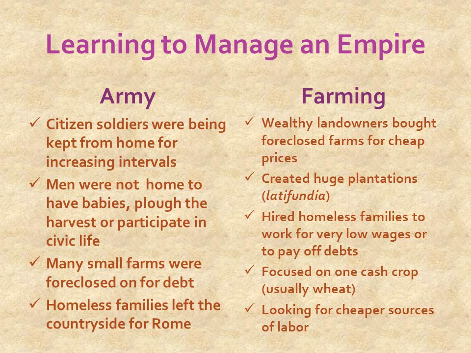 Learning to Manage an Empire Army Citizen soldiers were being kept from home for increasing intervals Men were not home to have babies, plough the harvest or participate in civic life Many small farms were foreclosed on for debt Homeless families left the countryside for Rome Farming Wealthy landowners bought foreclosed farms for cheap prices Created huge plantations (latifundia) Hired homeless families to work for very low wages or to pay off debts Focused on one cash crop (usually wheat) Looking for cheaper sources of labor