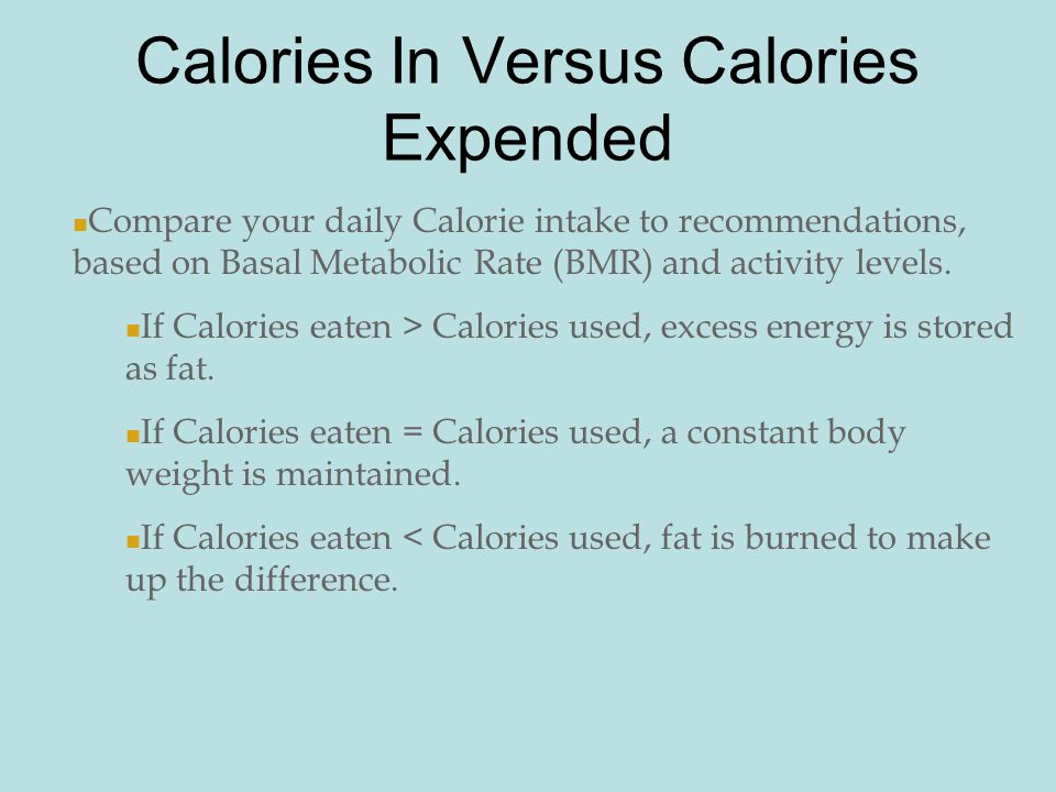 How many calories do you need each day?