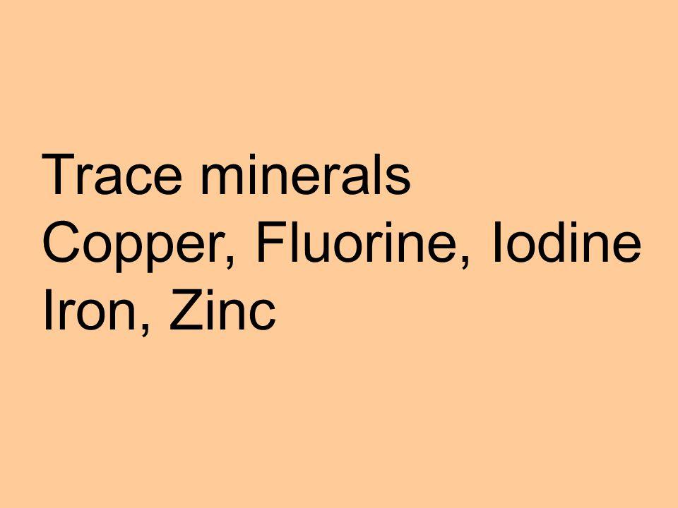 Types of Minerals Macro minerals – calcium, chlorine, magnesium, phosphorus, potassium, sodium, and sulphur.