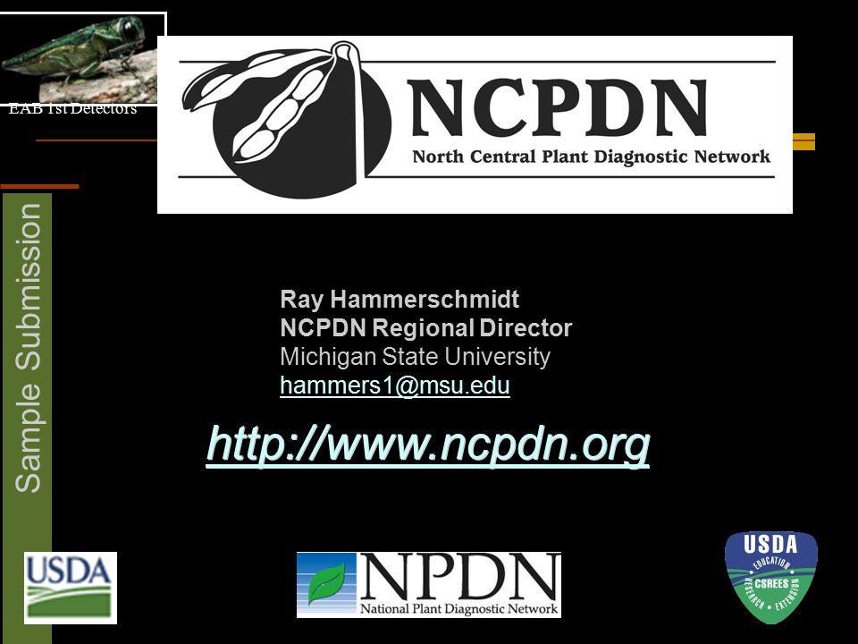 EAB 1st Detectors Sample Submission Ray Hammerschmidt NCPDN Regional Director Michigan State University hammers1@msu.edu http://www.ncpdn.org