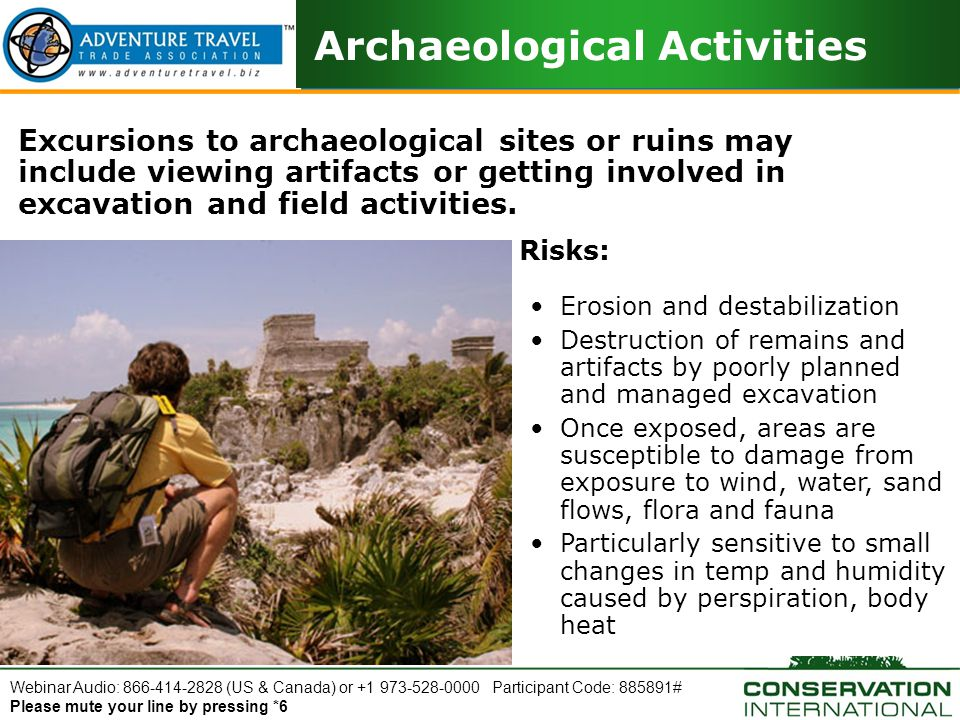 Webinar Audio: 866-414-2828 (US & Canada) or +1 973-528-0000 Participant Code: 885891# Please mute your line by pressing *6 Archaeological Activities Excursions to archaeological sites or ruins may include viewing artifacts or getting involved in excavation and field activities.