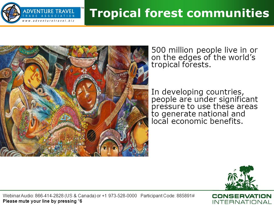 Webinar Audio: 866-414-2828 (US & Canada) or +1 973-528-0000 Participant Code: 885891# Please mute your line by pressing *6 Tropical forest communities 500 million people live in or on the edges of the world's tropical forests.