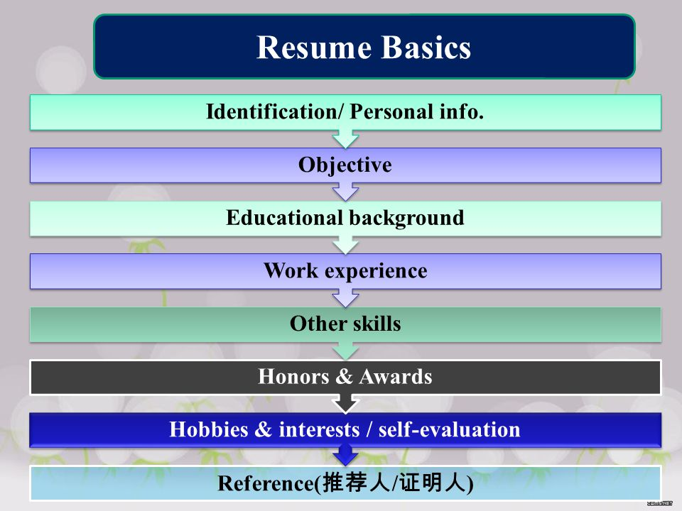 Reference( 推荐人 / 证明人 ) Hobbies & interests / self-evaluation Honors & Awards Other skills Work experience Educational background Objective Identification/ Personal info.