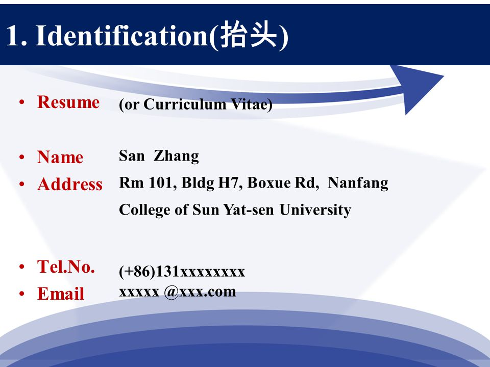 1. Identification( 抬头 ) Resume Name Address Tel.No.