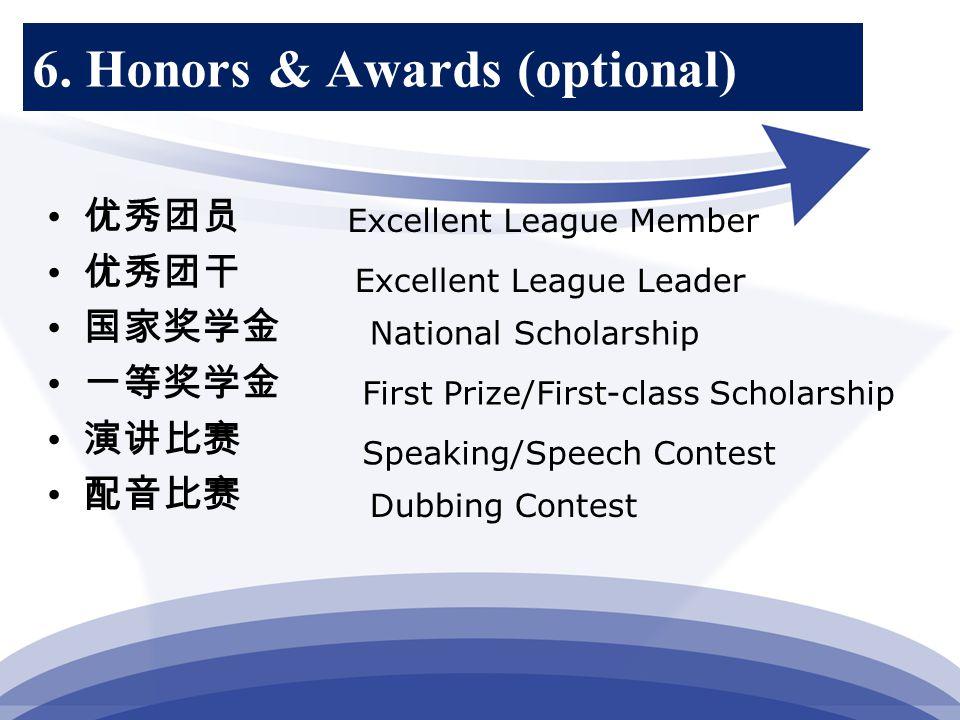6. Honors & Awards (optional) 优秀团员 优秀团干 国家奖学金 一等奖学金 演讲比赛 配音比赛 Excellent League Member Excellent League Leader First Prize/First-class Scholarship Spea