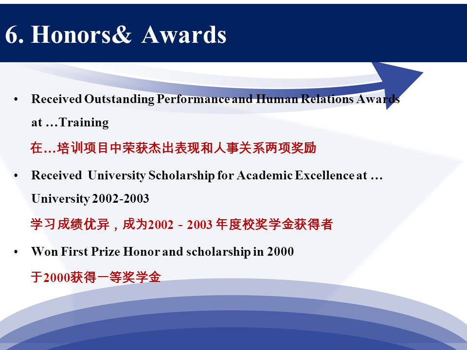 6. Honors& Awards Received Outstanding Performance and Human Relations Awards at …Training 在 … 培训项目中荣获杰出表现和人事关系两项奖励 Received University Scholarship fo