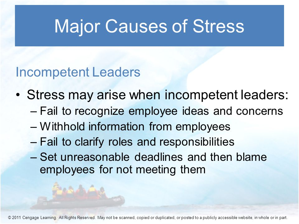 Incompetent Leaders Stress may arise when incompetent leaders: –Fail to recognize employee ideas and concerns –Withhold information from employees –Fail to clarify roles and responsibilities –Set unreasonable deadlines and then blame employees for not meeting them Major Causes of Stress © 2011 Cengage Learning.