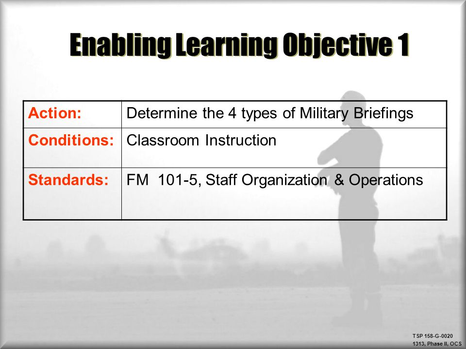 TSP 158-G-0020 1313, Phase II, OCS Check on Learning: ELO #2 Question: What are the 5 steps in the briefing process.