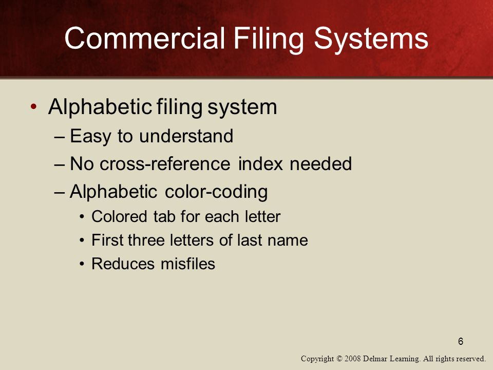 Copyright © 2008 Delmar Learning. All rights reserved. 6 Commercial Filing Systems Alphabetic filing system –Easy to understand –No cross-reference in