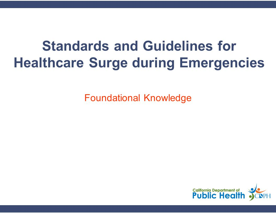 2 Learning Objectives Introduce the concept of healthcare surge as it relates to a broad-based emergency affecting medical response operations.