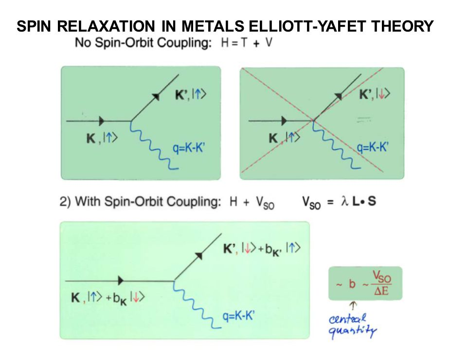SPIN RELAXATION IN METALS ELLIOTT-YAFET THEORY