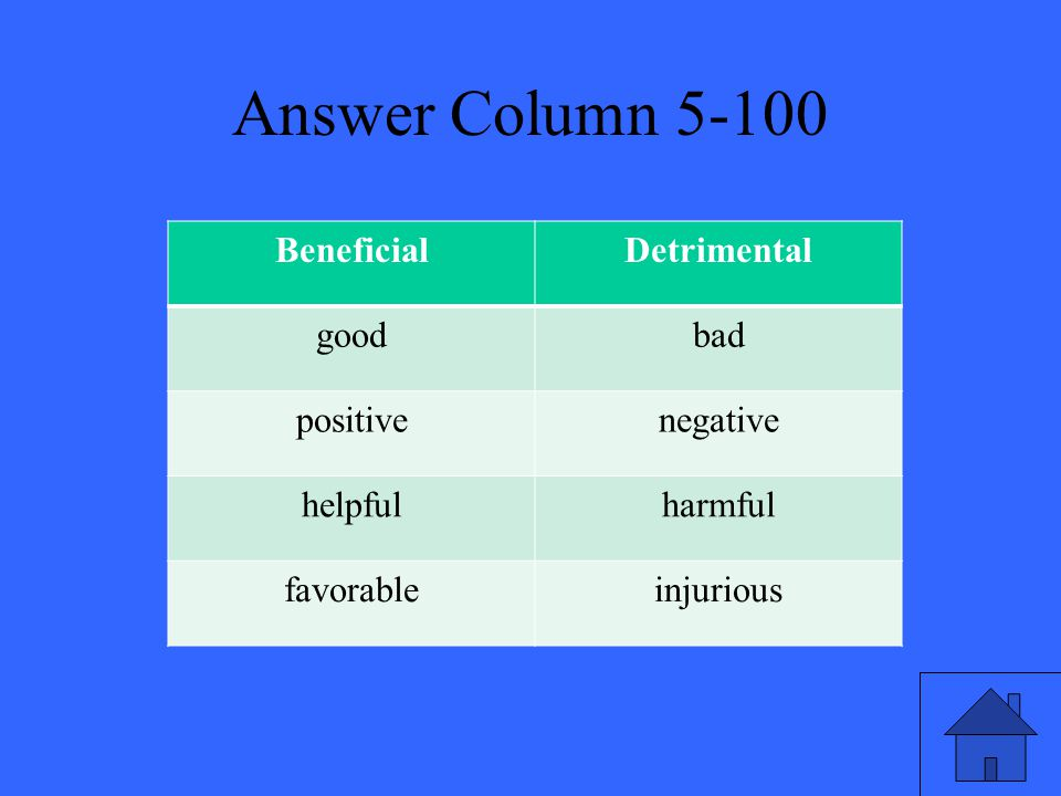 Answer Column 5-100 BeneficialDetrimental goodbad positivenegative helpfulharmful favorableinjurious