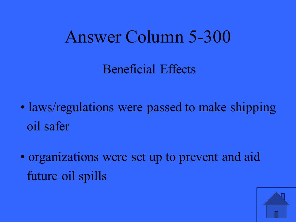 Answer Column 5-300 Beneficial Effects laws/regulations were passed to make shipping oil safer organizations were set up to prevent and aid future oil spills