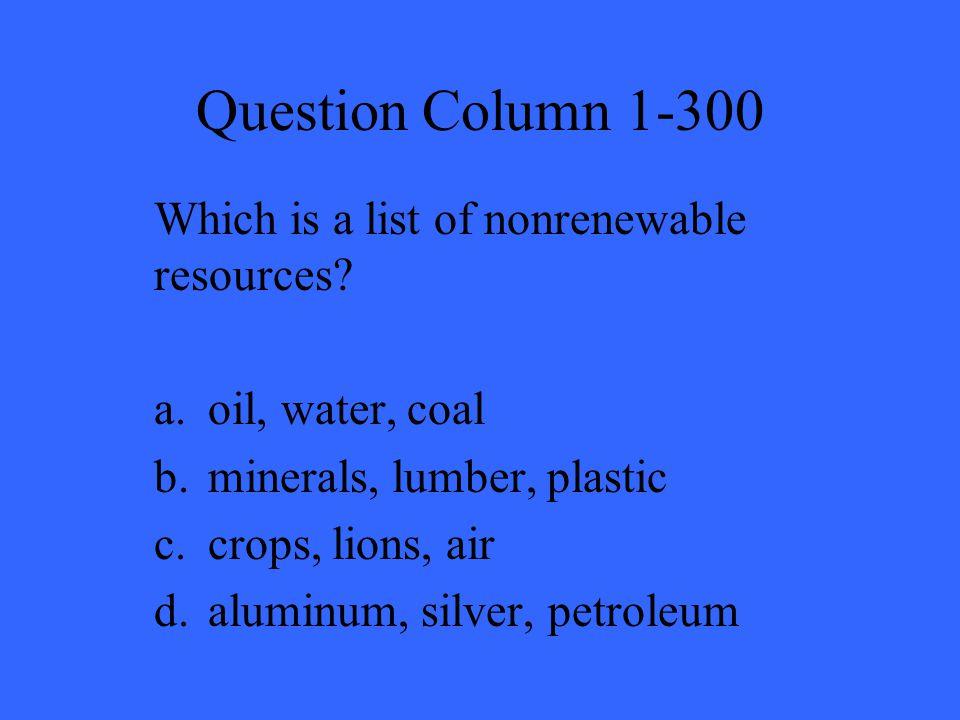 Answer Column 1-300 D.
