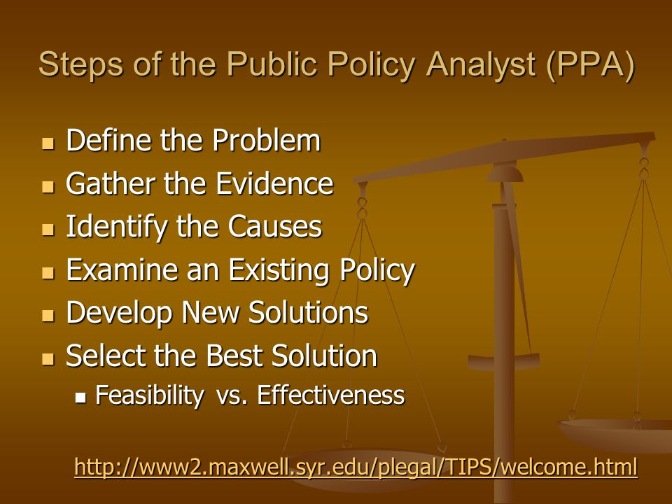 Steps of the Public Policy Analyst (PPA) Define the Problem Define the Problem Gather the Evidence Gather the Evidence Identify the Causes Identify the Causes Examine an Existing Policy Examine an Existing Policy Develop New Solutions Develop New Solutions Select the Best Solution Select the Best Solution Feasibility vs.
