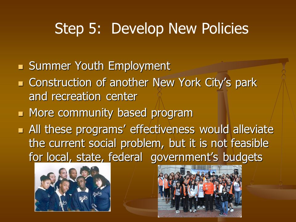 Summer Youth Employment Summer Youth Employment Construction of another New York City's park and recreation center Construction of another New York City's park and recreation center More community based program More community based program All these programs' effectiveness would alleviate the current social problem, but it is not feasible for local, state, federal government's budgets All these programs' effectiveness would alleviate the current social problem, but it is not feasible for local, state, federal government's budgets Step 5: Develop New Policies