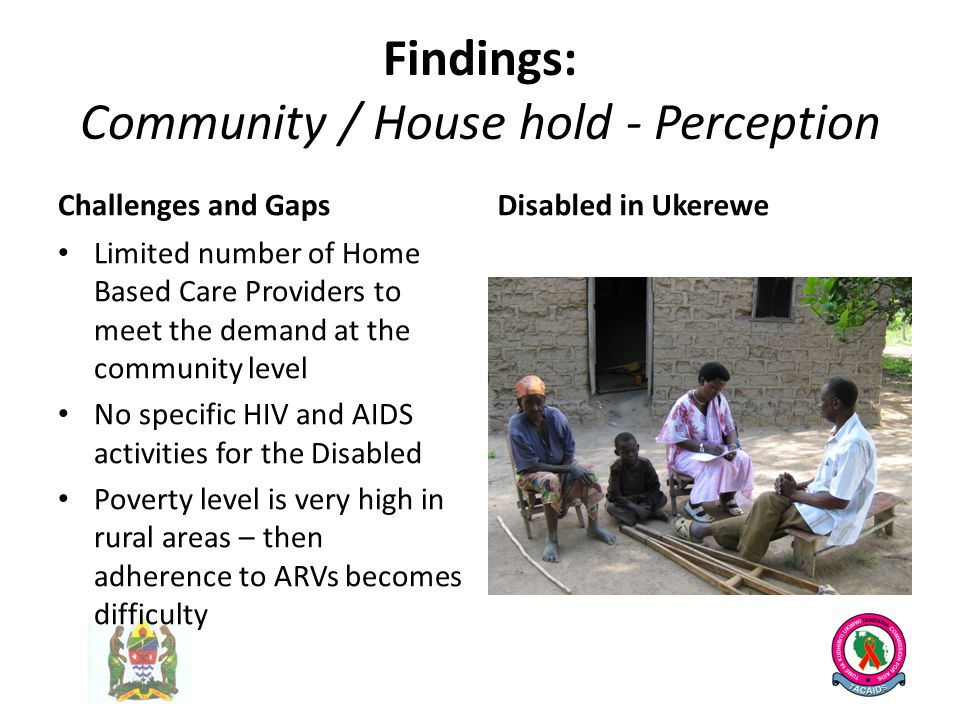 Findings: Community / House hold - Perception Challenges and Gaps Limited number of Home Based Care Providers to meet the demand at the community level No specific HIV and AIDS activities for the Disabled Poverty level is very high in rural areas – then adherence to ARVs becomes difficulty Disabled in Ukerewe