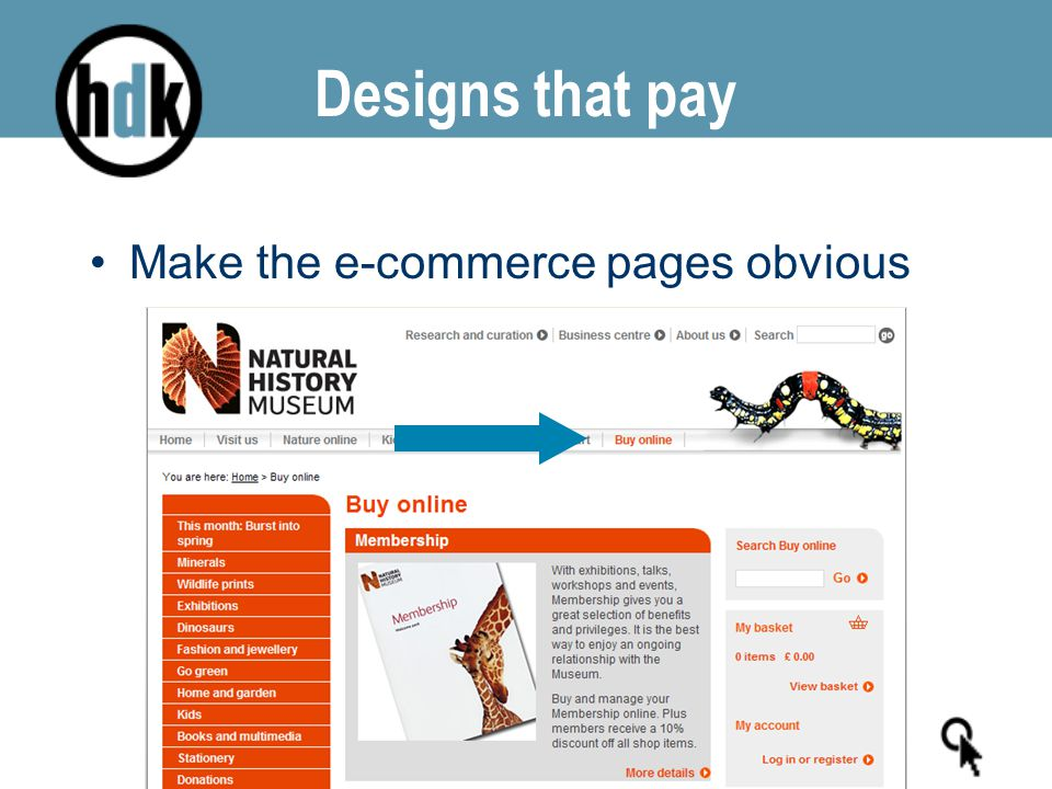 Designs that pay Make the e-commerce pages obvious