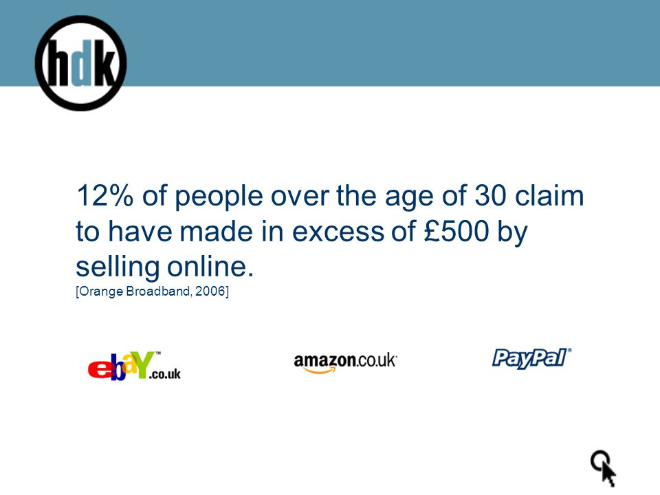 12% of people over the age of 30 claim to have made in excess of £500 by selling online.