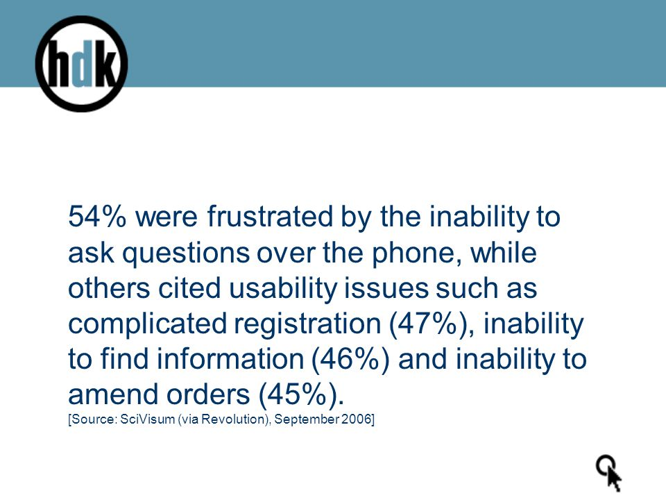 54% were frustrated by the inability to ask questions over the phone, while others cited usability issues such as complicated registration (47%), inab
