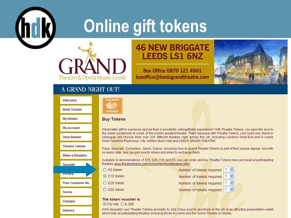 Online gift tokens