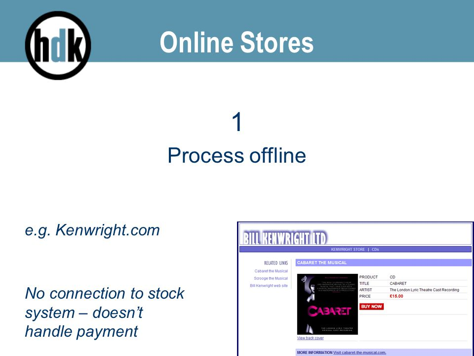 Online Stores 1 Process offline e.g. Kenwright.com No connection to stock system – doesn't handle payment