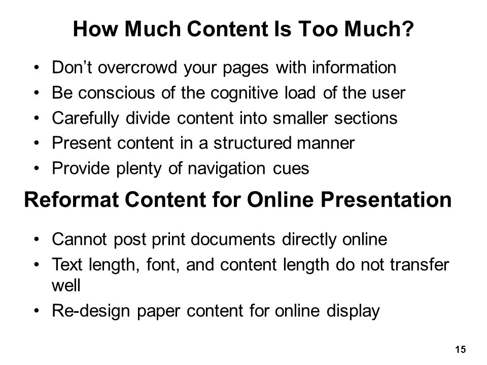 How Much Content Is Too Much.