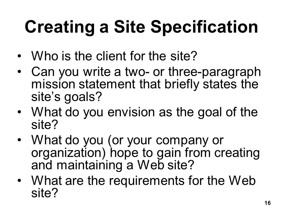 Who is the client for the site.