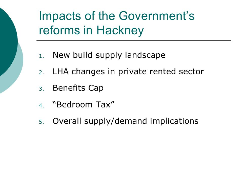 Impacts of the Government's reforms in Hackney 1. New build supply landscape 2.