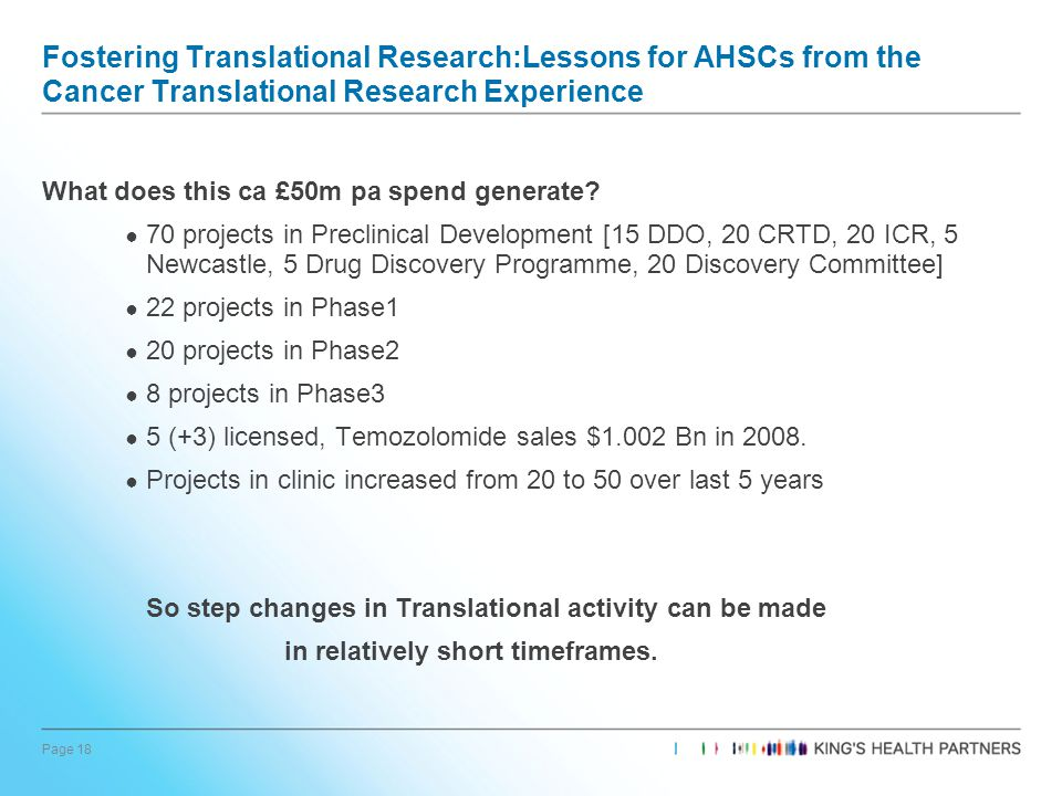 Page 18 Fostering Translational Research:Lessons for AHSCs from the Cancer Translational Research Experience What does this ca £50m pa spend generate.