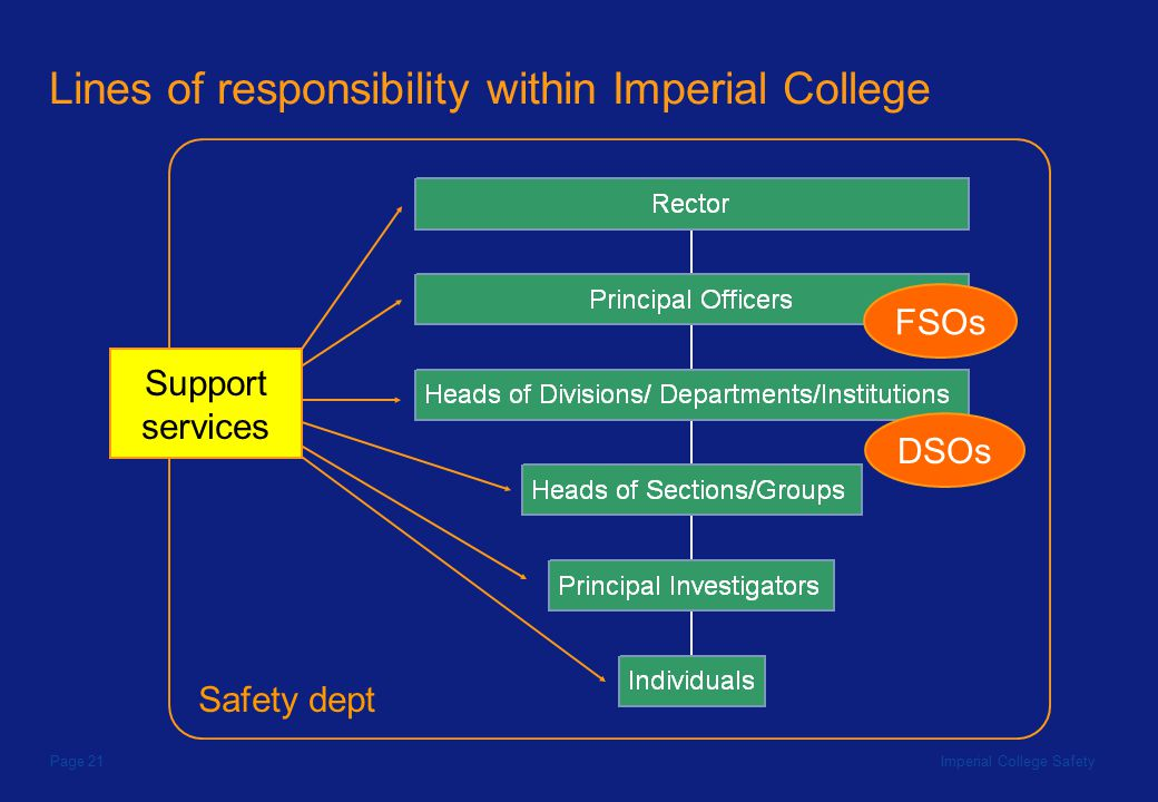 Imperial College SafetyPage 21 Lines of responsibility within Imperial College DSOs FSOs Safety dept Support services