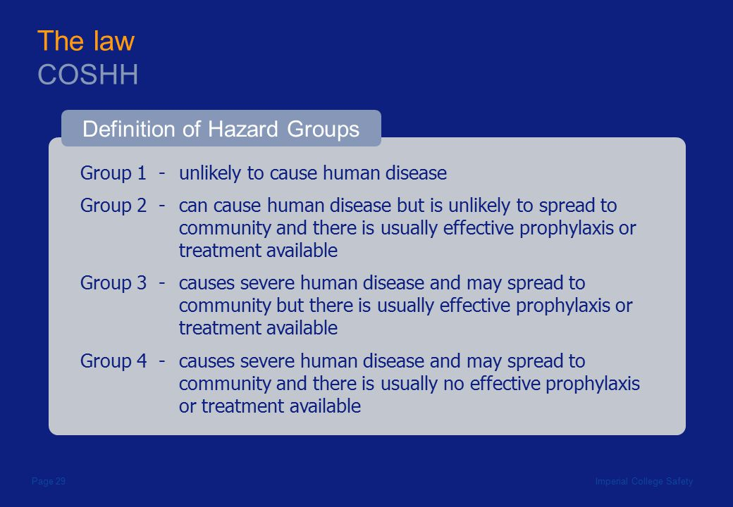 Imperial College SafetyPage 29 Group 1 - unlikely to cause human disease The law COSHH Definition of Hazard Groups Group 2 - can cause human disease but is unlikely to spread to community and there is usually effective prophylaxis or treatment available Group 3 - causes severe human disease and may spread to community but there is usually effective prophylaxis or treatment available Group 4 - causes severe human disease and may spread to community and there is usually no effective prophylaxis or treatment available