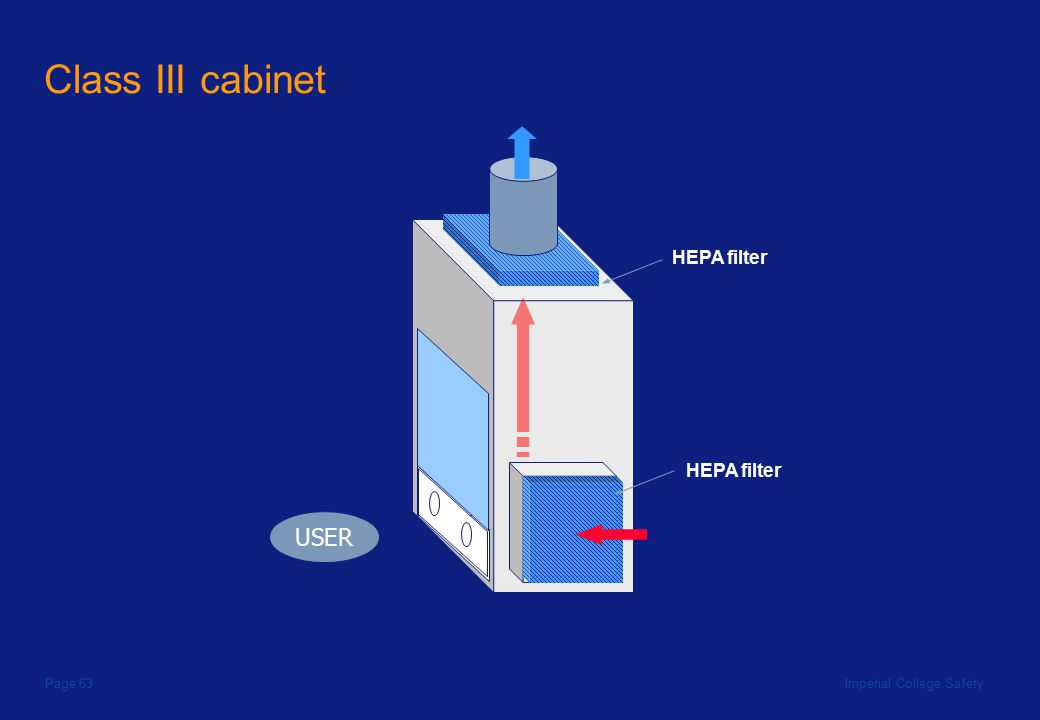 Imperial College SafetyPage 63 Class III cabinet USER HEPA filter