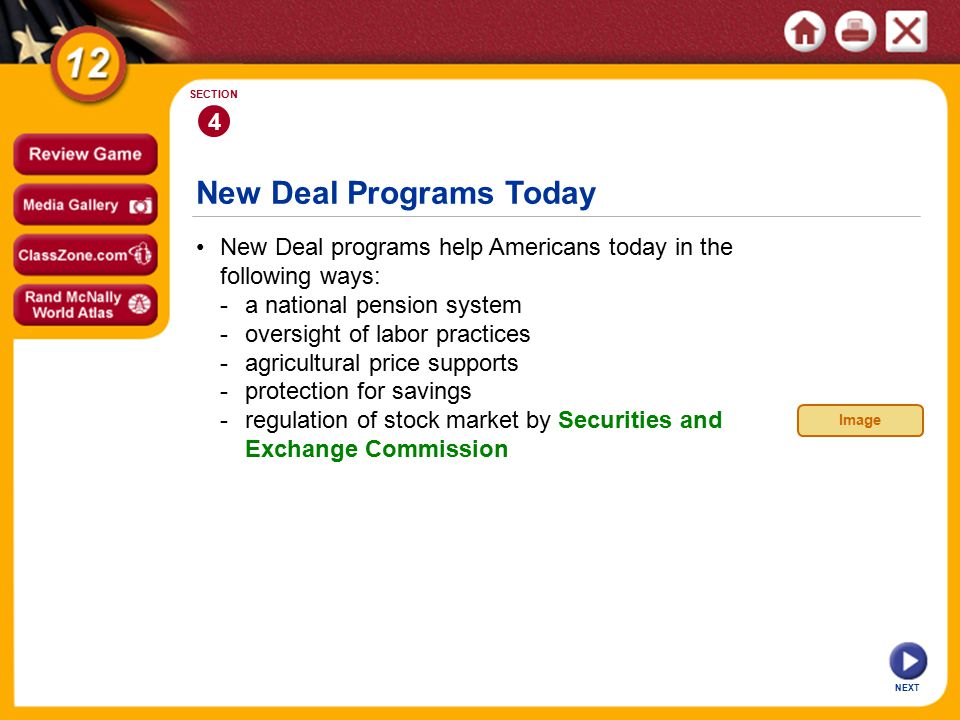 New Deal Programs Today New Deal programs help Americans today in the following ways: -a national pension system -oversight of labor practices -agricultural price supports -protection for savings -regulation of stock market by Securities and Exchange Commission 4 SECTION NEXT Image