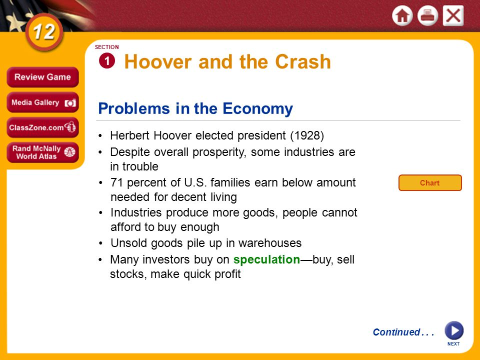 Problems in the Economy Hoover and the Crash Herbert Hoover elected president (1928) 1 SECTION Despite overall prosperity, some industries are in trouble NEXT 71 percent of U.S.