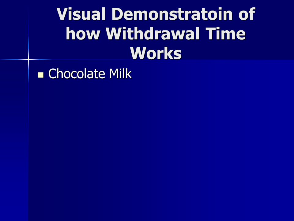 Visual Demonstratoin of how Withdrawal Time Works Chocolate Milk Chocolate Milk