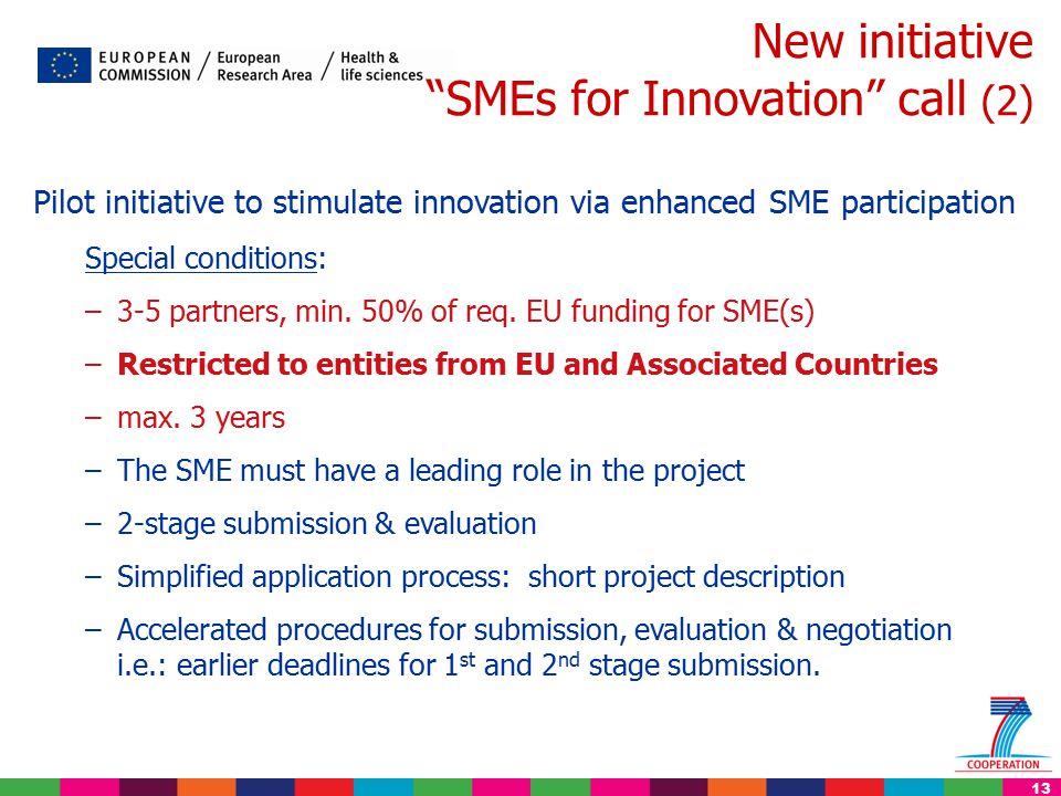 13 New initiative SMEs for Innovation call (2) Pilot initiative to stimulate innovation via enhanced SME participation Special conditions: –3-5 partners, min.