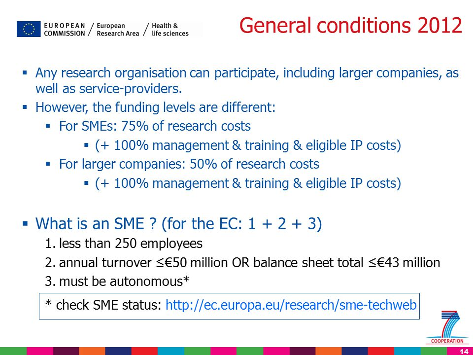 14 General conditions 2012  Any research organisation can participate, including larger companies, as well as service-providers.  However, the fundi