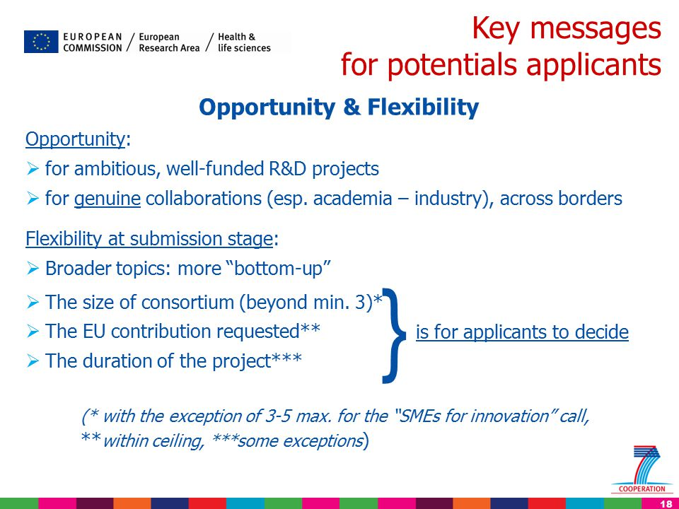 18 Key messages for potentials applicants Opportunity & Flexibility Opportunity:  for ambitious, well-funded R&D projects  for genuine collaborations (esp.