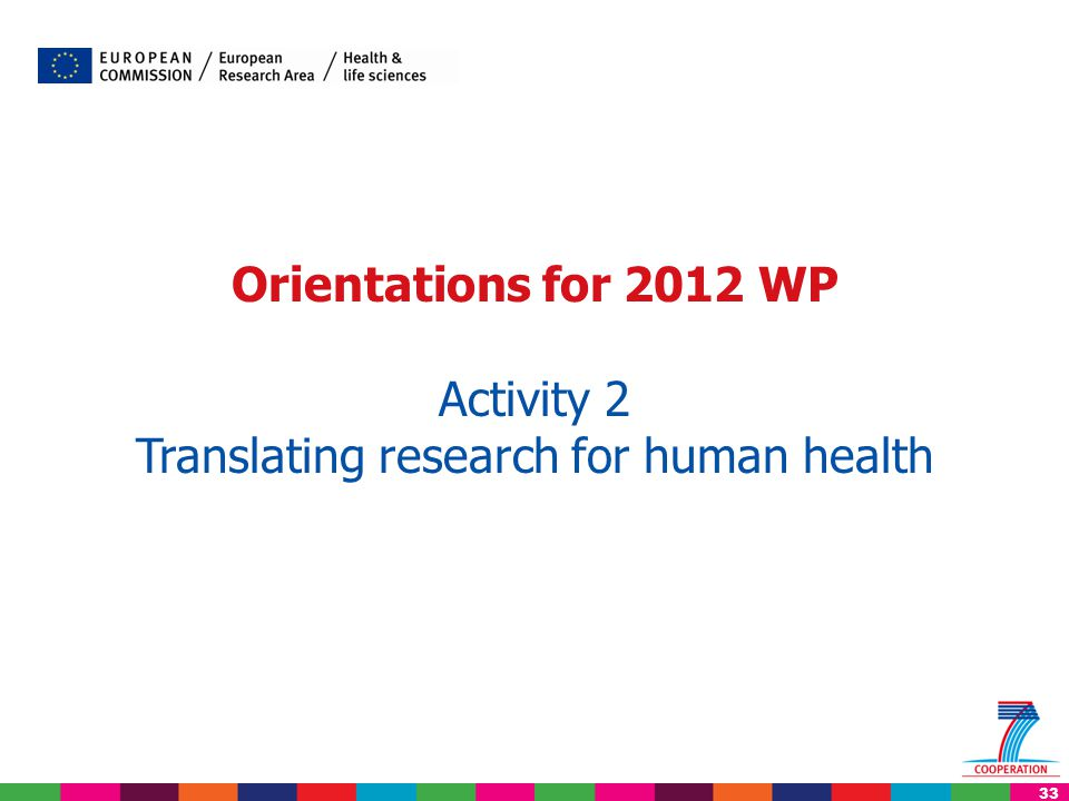 33 Orientations for 2012 WP Activity 2 Translating research for human health