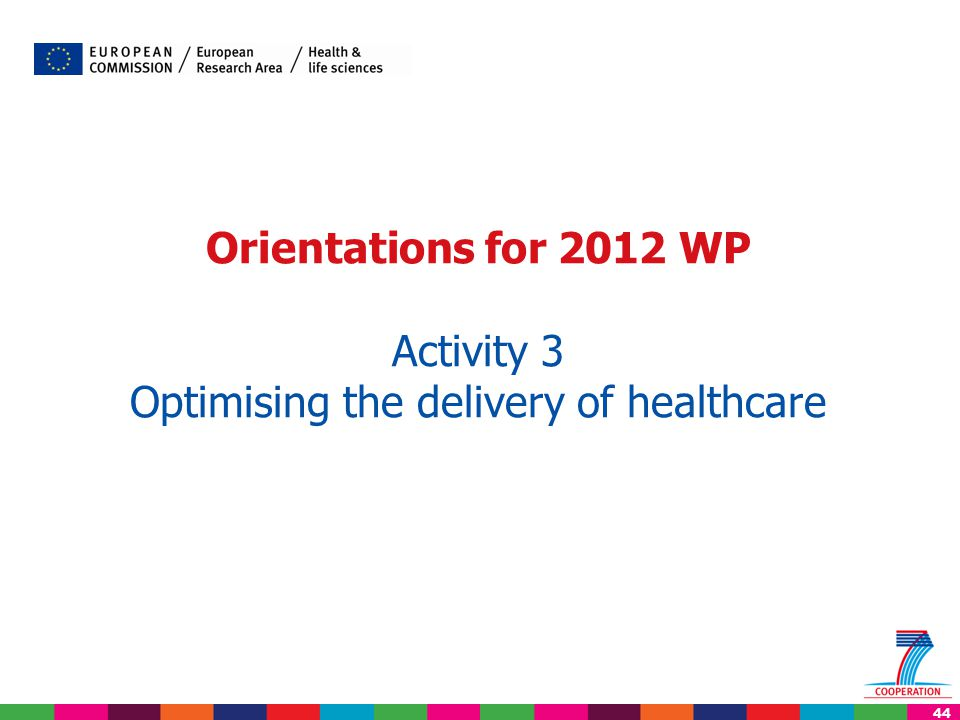 44 Orientations for 2012 WP Activity 3 Optimising the delivery of healthcare
