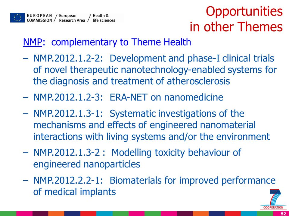 52 Opportunities in other Themes NMP: complementary to Theme Health –NMP.2012.1.2-2: Development and phase-I clinical trials of novel therapeutic nano