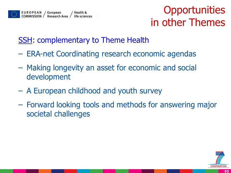 53 Opportunities in other Themes SSH: complementary to Theme Health –ERA-net Coordinating research economic agendas –Making longevity an asset for eco